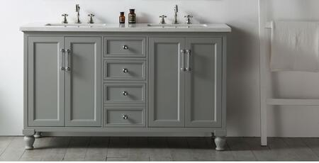 """Legion Furniture WH7560 60"""" Sink Vanity with 4 Doors, Ceramic Sink and 6 Pre-Drilled Faucet Hole in"""