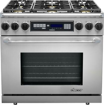 "Dacor ER36DSCHLPH 36"" Renaissance Series Dual Fuel Freestanding Range with Sealed Burner Cooktop, 4.6 cu. ft. Primary Oven Capacity, in Stainless Steel"