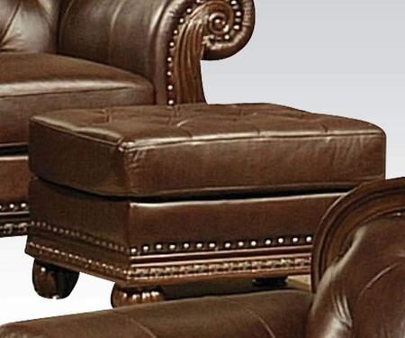 Acme Furniture 15034 Anondale Series Traditional Leather Match Wood Frame Ottoman