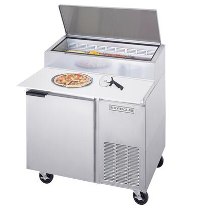 """Beverage-Air DP [46""""] DELI/PIZZA Series [One Door] Pizza Prep Table,  [16.7] cu.ft. Capacity, Stainless Steel Exterior and Side Mounted Compressor"""