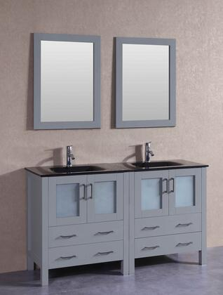 "Bosconi AGR230BGUX XX"" Double Vanity with Black Tempered Glass Top, Integrated Sink, F-S01 Faucet, Mirror, 4 Doors and X Drawers in Grey"