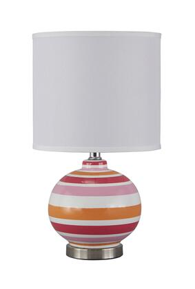 "Signature Design by Ashley Sirene L8574 18"" Ceramic Table Lamp with Bold Colorful Base, On-Off Switch and Contemporary Style in"