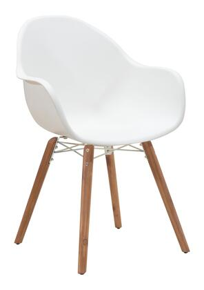 "Zuo 7037 Tidal 34"" Dining Chair with Acacia Wood Legs and Sloped-Moulded Polypropylene Seat and Back"