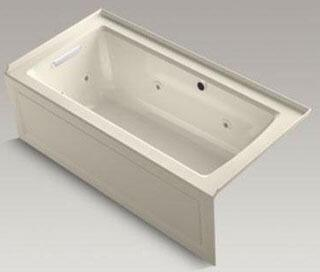 """Kohler K-1947-LAW 60"""" x 30"""" Alcove Whirlpool with Bask Heated Surface, Integral Apron, Integral Flange and Left-Hand Drain"""