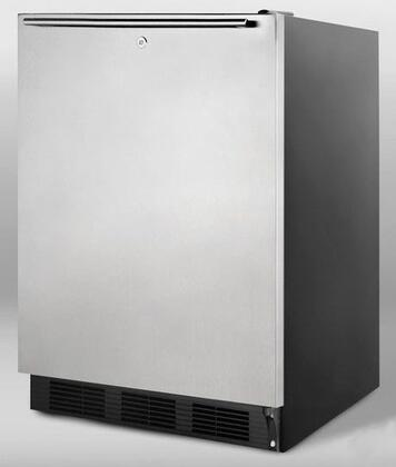 """Summit AL752LBLBISSHH 24""""  Stainless Steel Compact Refrigerator with 5.5 cu.ft. Capacity"""