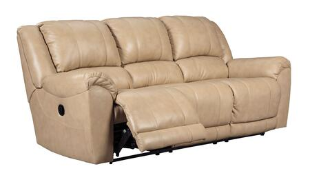 """Signature Design by Ashley Yancy 292028 91"""" Reclining Sofa with Pillow Top Arms, Top Grain Leather Seat, Vinyl and Leather Match Upholstery in Galaxy Color"""