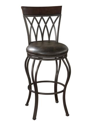American Heritage Palermo Series 130915 Transitional Stool with Full Bearing Swivel, Adjustable Leg Levelers, and Uniweld Construction Finished in Pepper with Tobacco Leather