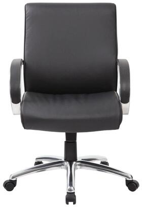 """Boss B7716 38"""" Mid-Back Executive Chair with Sprint Tilt Mechanism, Pneumatic Gas Lift Seat Height Adjustment, and Adjustable Tilt Tension Control in Black CaressoftPlus  Upholstery"""