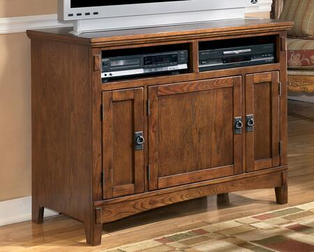 """Signature Design by Ashley Cross Island W319-X8 X"""" T.V. Stand with Framed Doors, Bronze Metal Hardware, Holes for Wiring and 2 Open Top Shelves in Medium Brown Finish"""