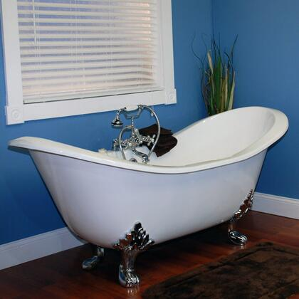 "Cambridge DES7DH Cast Iron Double Ended Slipper Tub 71"" x 30"" with 7"" Deck Mount Faucet Drillings"