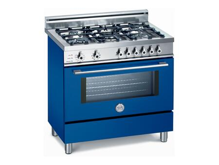 Bertazzoni X365PIRBL Professional Series Dual Fuel Freestanding Range with Sealed Burner Cooktop, 4 cu. ft. Primary Oven Capacity, Storage in Blue