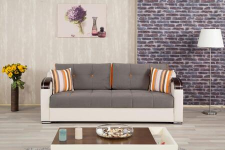 Casamode DIDESB Divan Deluxe Sofabed with Pillows, Storage Under the Seats, Stitched Detailing, Curved Arms and Block Feet with Woodlike and Stainless Steel Accents