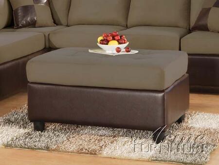 Acme Furniture 00112SADDLE Contemporary Microfiber Ottoman