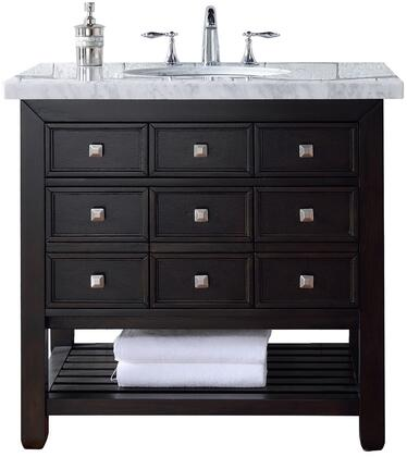 "James Martin Vancouver Collection 505-V36-CEO- 36"" Cerused Espresso Oak Single Vanity with Four Drawers, Bottom Shelf, Satin Nickel Hardware and"