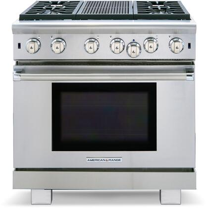 "American Range ARR-436GR 36"" Cuisine Series Gas Range with 5.3 cu. ft. Oven Capacity, 4 Sealed Burners, 11"" Grill Burner and Convection Oven with Infrared Broiler, in Stainless Steel:"