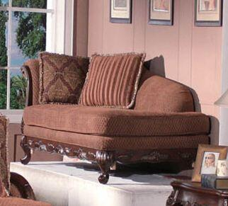 Meridian 615CH Traditional Fabric Wood Frame Chaise Lounge