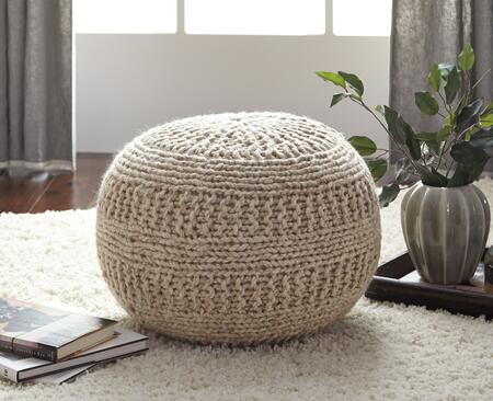 "Signature Design by Ashley Benedict A100055X 14"" Pouf Ottoman with Rib Knit Texture, ESP Beads and Made of Wool in"