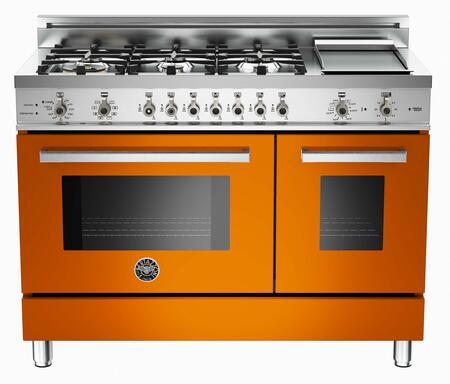 "Bertazzoni PRO486GDFSAR 48"" Professional Series Dual Fuel Freestanding Range with Sealed Burner Cooktop, 3.4 cu. ft. Primary Oven Capacity, in Orange"