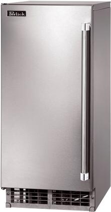 """Perlick H50IMS-X 15"""" Indoor/Outdoor Undercounter Clear Ice Maker with Stainless Steel Solid Door, Stainless Steel Interior, Commercial-Grade Compressor, Full-Extension Pullout Shelving"""