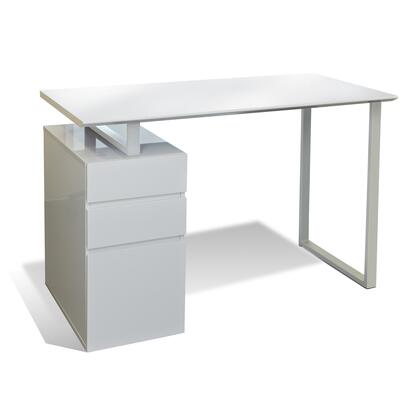 "Unique Furniture 200 Collection 48"" Writing Desk with 1 File Drawer, 2 Utility Drawers, No Scratch Surface, Medium-Density Fiberboard (MDF) and Steel Base in"