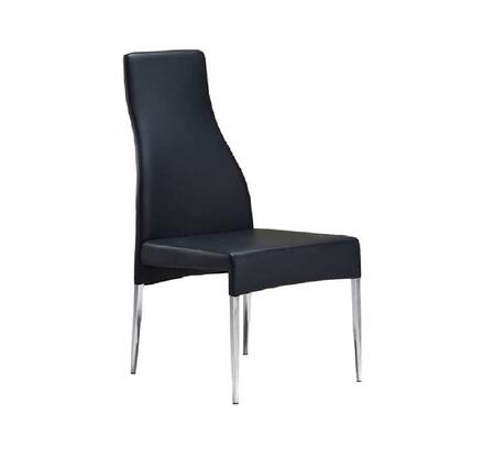 "Casabianca Valentino Collection CB-F3151 41"" Dining Chair with Eco-Leather Upholstery, Stitched Detailing and Tapered Chrome Legs in"