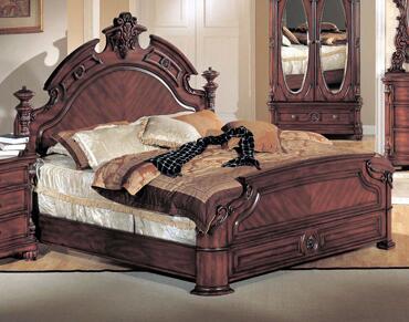 Yuan Tai CR2000 Corina Panel Bed in Dark Cherry Finish