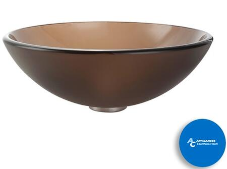 """Kraus CGV103FR12MM10 Singletone Series 17"""" Round Vessel Sink with 12-mm Tempered Glass Construction, Easy-to-Clean Polished Surface, and Included Waterdall Faucet, Frosted Brown Glass"""