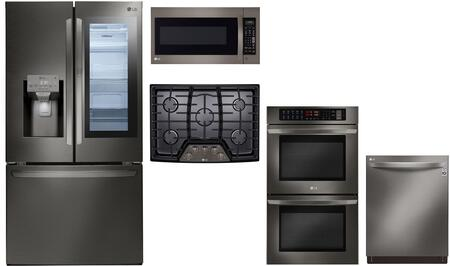 Lg 1097658 5 Piece Black Stainless Steel Kitchen Liances Package