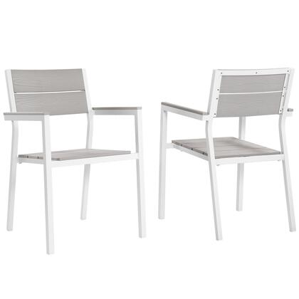 "Modway Maine EEI1739 43"" Dining Armchair Outdoor Patio Set of 2 with Solid Plywood Slats, Plastic Base Glides and Powder Coated Aluminum Frame in Color"