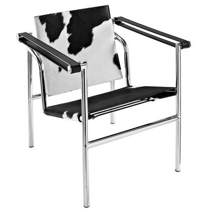 "Modway EEI-633 Charles 15.5"" Pony Hide Lounge Chair with Chrome-Finished Frame, Taut Leatherette Slings, and Rubber Floor Stoppers"