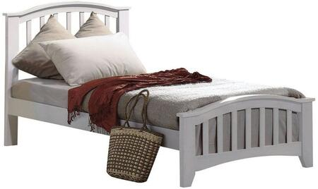 Acme Furniture 09139 San Marino Bed with Slightly Tapered Legs, Shaped Tops, Slatted Headboard and Footboard in White Finish