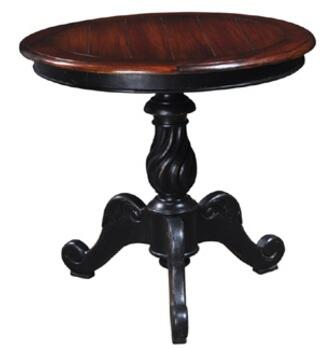 Bramble 21670 Provence Series Transitional Wood Round None Drawers End Table