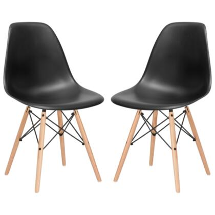 EdgeMod EM105NATBLKX2 Vortex Series Modern Wood Frame Dining Room Chair