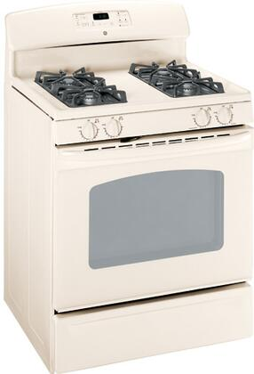 GE JGBP33DEMCC  Gas Freestanding Range with Sealed Burner Cooktop, 4.8 cu. ft. Primary Oven Capacity, Storage in Bisque