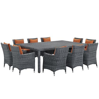 Modway Summon Collection EEI-2333-GRY- 11-Piece Outdoor Patio Sunbrella Dining Set with Dining Table and 10 Armchairs in