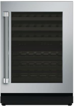 """Thermador T24UW820 24"""" Under-Counter Dual Zone Wine Cooler with 41 Bottle Capacity, Glass Door, SoftClose Door Hinges, LED Theatre Lighting, and UV Resistant Glass Door: Stainless Steel"""