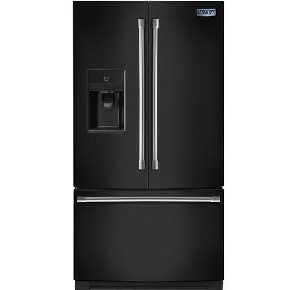 """Maytag MFT2574DE 36"""" Freestanding French Door Refrigerator With 24.69 cu. ft. Total Capacity, PowerCold, Wide-N-Fresh Deli Drawer, Exterior Ice And Water Dispenser, And LED Lighting:"""