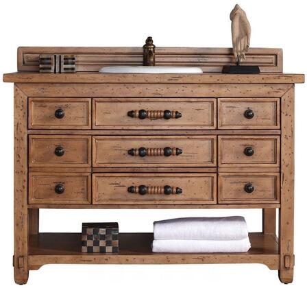 "James Martin Malibu Collection 500-V48-HON- 48"" Honey Alder Single Vanity with Seven Drawers, Bottom Shelf, Rustic Iron Hardware and"