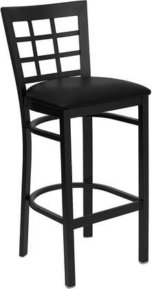 "Flash Furniture HERCULES Series XU-DG6R7BWIN-BAR-XXV-GG 31"" Window Back Metal Restaurant Bar Stool with Vinyl Seat, Commercial Design, 18 Gauge Steel Frame, Foot Rest Rung, and Plastic Floor Glides"
