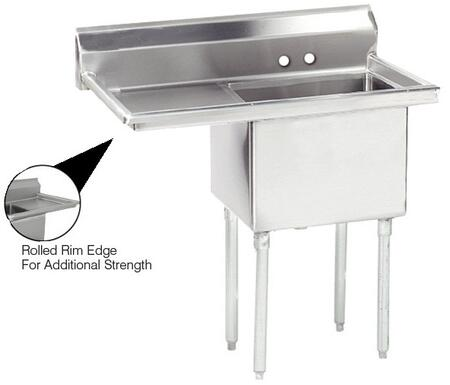 """Advance Tabco FE-1-1620 Lite Series One-Compartment Fabricated Sink with 16"""" x 20"""" Bowl and Backsplash in Stainless Steel"""