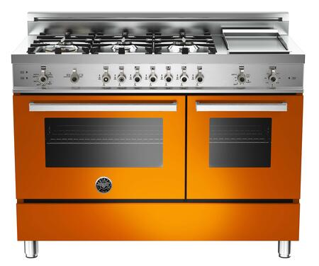 "Bertazzoni PRO486GGASARLP 48"" Professional Series Gas Freestanding Range with Sealed Burner Cooktop, 3.6 cu. ft. Primary Oven Capacity, Storage in Orange"