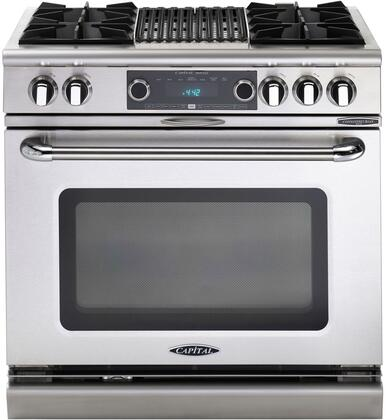 "Capital COB362B2N 36"" Connoisseurian Series Natural Gas Freestanding Range with Open Burner Cooktop, 5.4 cu. ft. Primary Oven Capacity, in Stainless Steel"