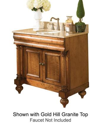 "Kaco Guild Hall Collection 725-3600-P 36"" Single Sink Vanity with Adjustable Shelf, 2 Doors and Removable Drawer in Warm Pecan Finish with X Top"