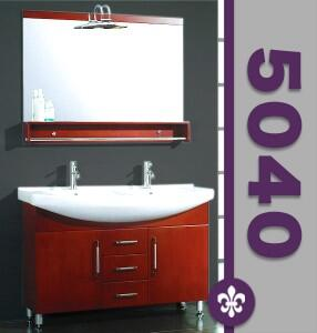 "Cambridge 5040X 48"" Wood & Porcelain Counter Top with 2 Sinks Vanity Set with Faucets"