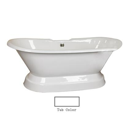 """Barclay CTDRN68B Gaelyn 68"""" Cast Iron Double Roll Tub with Structured Base and White Enamel Interior, in"""