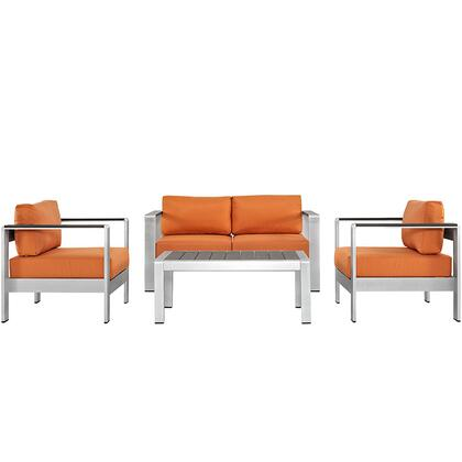 Modway Shore Collection 4 PC Outdoor Patio Sectional Sofa Set with Anodized Aluminum Frame, Non-Marking Foot Caps and All-Weather Canvas Cushions in Silver Color