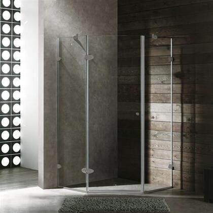 "Vigo VG6061XXCL40 40"" x 40"" Frameless Neo Angle 3/8"" Shower Enclosure in"