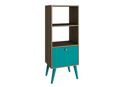 """Accentuations Sami Collection 2AMC12X 18"""" 2-Shelve Double Bookcase with 1 Drawer, Splayed Legs and Square Knob Design in"""