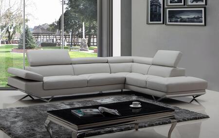 VIG Furniture VGKNK8488ECOLTGRY Divani Casa Quebec Series Sofa and Chaise Sofa