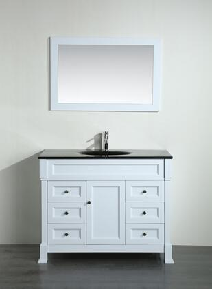 "Bosconi Bosconi 43"" SB-278WHX Single Vanity with 1 Door, 6 Drawers, 1 Sink Included, Wall Mounted Mirror, Antique Bronze Hardware and Birch Solid Wood Frame in White Color"